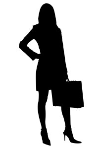 Silhouette over white with clipping path. Business Woman with Briefcase.